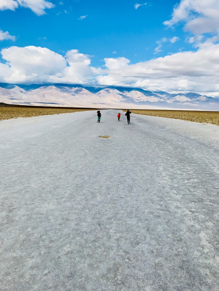 Running down the salt flats of Badwater Basin. The ground is basically made of hardened salt--Bird Nerd tasted it and can vouch for the quality.