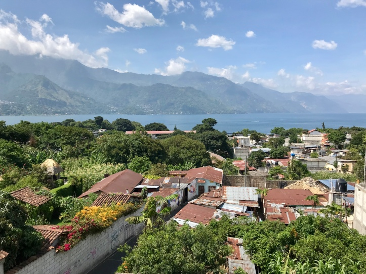 Balcony view of San Pedro La Laguna and Lake Atítlan, Guatemala