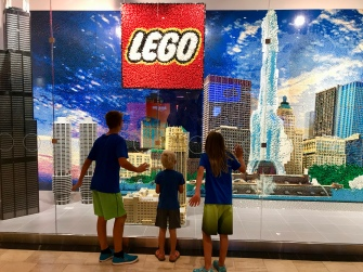 Chicago skyline at the LEGO storefront. The Boss was offended at the lack of Harry Potter LEGO sets for sale.