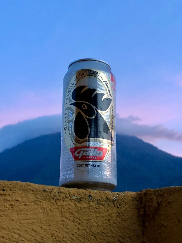 Gallo beer in front of San Pedro Volcano in Guatemala