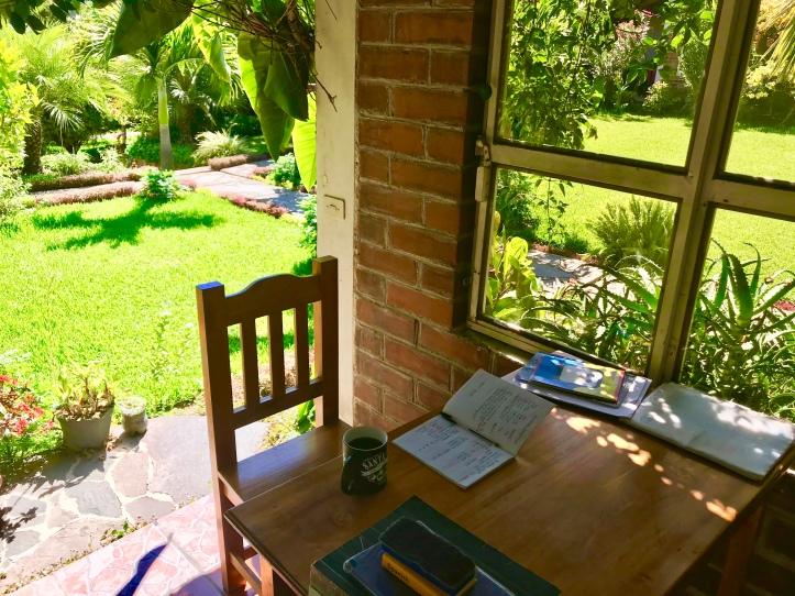 garden classroom at Cooperativa Spanish School in San Pedro La Laguna, Guatemala