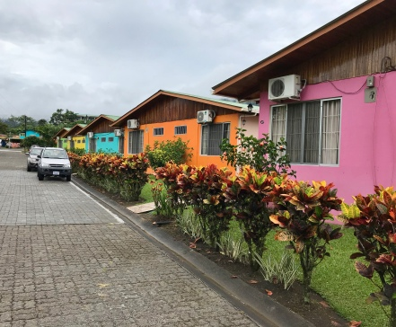 Outside view of the villas at Hotel Villas Vilma. We were in the turquoise one!