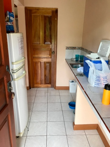 The villas also have kitchenette areas with a sink and fridge. No dishes, so bring your own. No microwave, either, but there is one in the lobby that is open for guest use.