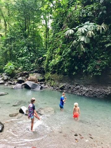 """Spear fishing"" in the river near La Fortuna Waterfall."