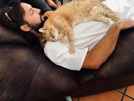 Nap time for John and Garfield!